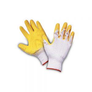 ถุงมือผ้าเคลือบยางไนล่อนสีเหลือง