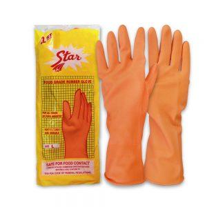 ถุงมือแม่บ้านSTARสีส้ม