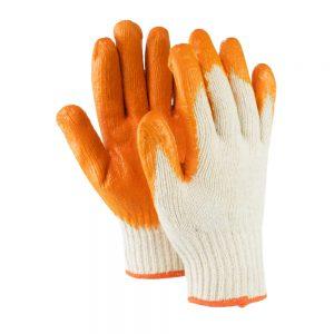 ถุงมือผ้าเคลือบยางสีส้ม